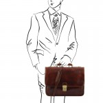 Torino Leather briefcase 2 compartments Βusiness