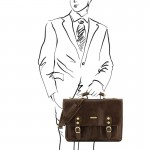 Modena Leather briefcase 2 compartments Βusiness