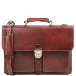 Assisi Leather briefcase 3 compartments Βusiness