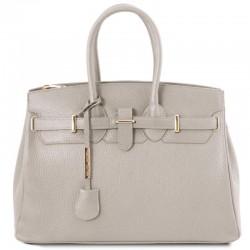 TL Bag Leather handbag with golden hardware Leather Bags