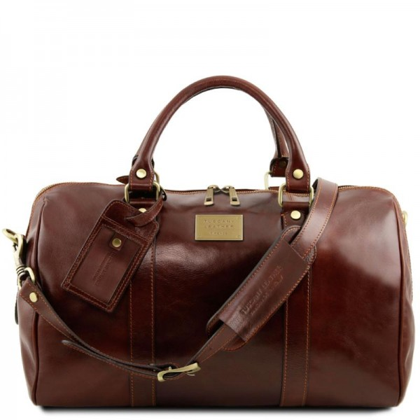 TL Voyager Travel leather duffle bag with pocket on the back side - Small size Τypes of Travel