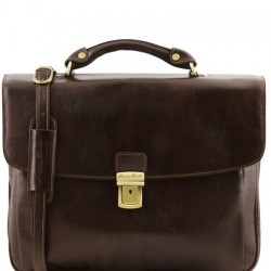 Alessandria Leather multi compartment TL SMART laptop briefcase Βusiness