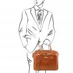 Pisa Leather laptop briefcase with front pocket Βusiness