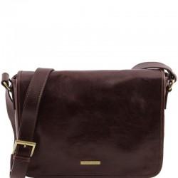 TL Messenger One compartment leather shoulder bag - Medium size