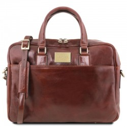Urbino Leather laptop briefcase 2 compartments with front pocket Βusiness