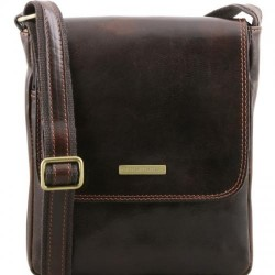 John Leather crossbody bag for men with front zip Small Leather Bags