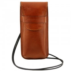 Exclusive leather eyeglasses/Smartphone holder Large size Leather Accessories