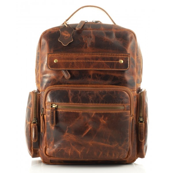 leather backpack unisex kion in waxy premium leather