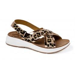 Women Anatomic Leather Sandal S82 Thelma Moka Leopard - Fantasy Sandals